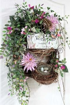 Spring & Summer Welcome Wreath with Bird's Nest Wreath Crafts, Diy Wreath, Grapevine Wreath, Wreath Ideas, Tulle Wreath, Burlap Wreaths, Easter Wreaths, Fall Wreaths, Christmas Wreaths
