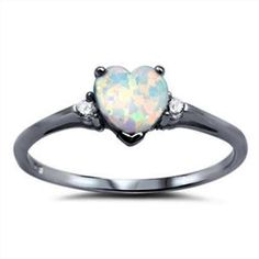 Promise Ring Black Gold Solid 925 Sterling Silver Round Russian Diamond CZ Three stone 0.84CT Heart Shape Lab Created White Opal Love Gift