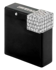 1920's Cartier Art Deco Cigarette Lighter - Cartier Paris - Black Enamel and Diamond - Estate of Consuelo Vanderbilt Earl - Doyle New York