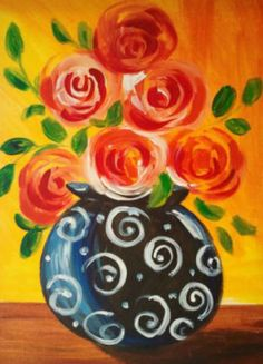 Funky Black Vase - I wouldn't have all of the roses facing this way, but I do like how the leaves and roses are made.