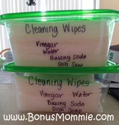 DIY Cleaning Wipes using Vinegar, Baking Soda, Water, and Dish Soap