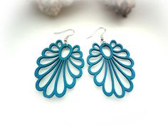 Beautiful Turquoise Wooden Earrings Plus A Pair Of Black