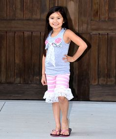 Loving this Hot Pink & Gray Tank & Ruffle Short Set - Infant, Toddler & Girls on #zulily! #zulilyfinds