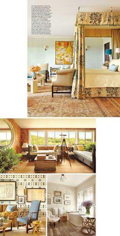 Master suite -- love the clash of floral fabric and oushak rug Master Bedrooms, Master Suite, Master Bath, Good Bones, Co Design, Architectural Digest, Floral Fabric, Decor Styles, Designers