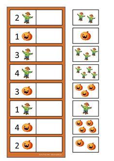 By Autismespektrum. Halloween Math, Halloween Activities, Halloween Themes, Fall Halloween, Halloween Crafts, Fall Preschool, Preschool Learning Activities, Kindergarten Activities, Kids Learning