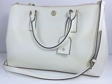 $575 Tory Burch 'Robinson' Double Zip Ivory Tote