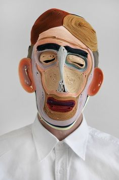 In his ongoing mask series, Dutch designer Bertjan Pot creates contemporary renditions of folkloric masks by stitching together thin strands of colored rope, giving the human face new textures that… Textiles, Colored Rope, Colossal Art, Masks Art, Arte Popular, Mask Making, Mask Design, Design Design, Interior Design
