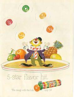 The orange ones were my favorite...  Lifesavers Candy Circus Clown Juggler (1950)