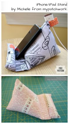Diy ipad stand free sewing patterns + video sew/no-sew рукоделие. Easy Sewing Projects, Sewing Projects For Beginners, Sewing Hacks, Sewing Tutorials, Sewing Crafts, Sewing Tips, Sewing Patterns Free, Free Sewing, Support Ipad