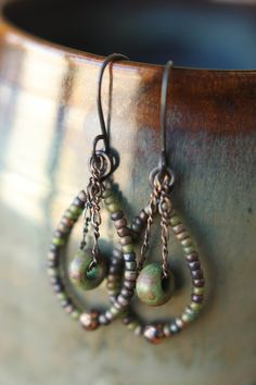Copper Czech Glass Seed Bead Dangle Earrings by Sparrowtaledesign
