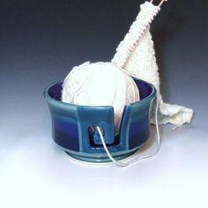 Large Yarn Bowl Porcelain Knitting Bowl by AllisonGlickCeramics