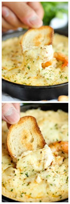 Recipes for Dinner: Shrimp Scampi Dip - Your favorite pasta in creamy, cheesy dip form! It's so good, you'll only want to have this version of shrimp scampi! Appetizer Dips, Finger Food Appetizers, Appetizer Recipes, Dip Recipes, I Love Food, Good Food, Yummy Food, Tasty, Shrimp Scampi Dip