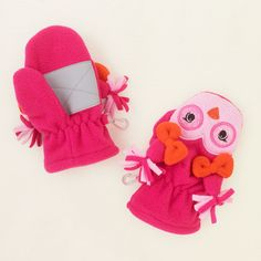 baby girl - outerwear - fleece owl mittens | Children's Clothing | Kids Clothes | The Children's Place