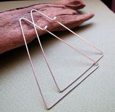 Large Triangle Hoop Earrings  Sterling Silver by NadinArtDesign