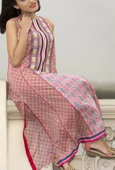 Buy Pink Embroidered Cotton Lawn Kurta by Amna Ismail by Zuni Kurti Collection 2015.