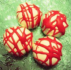 Red icing vanilla balls