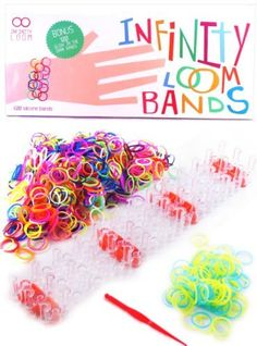Infinity Loom Bands Deluxe Kit - 700 Silicone Bands with 28 S/C Clips - BONUS 100 Glow in the Dark Bands and Other Accessories - Better Than Rubber Bands - Crazy Colorful Tie Dye Rainbow Charms Bracelet Maker for Kids - Latex Free Bands for Weaving, Perfect for Girls and Boys - 100% Lifetime Guarantee, http://www.amazon.com/dp/B00FUUZDCA/ref=cm_sw_r_pi_awdl_fhMHsb1WG6FBN