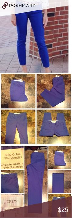 """J. Crew Cafe Capri's Capri's are made of 98% Cotton and 2% Spandex. Size 0P. Color Blue. Skinny Leg. Length """"32. Laying flat """"14. Rise """"9. Inseam """"23. This item is NOT new, It is used and in Good condition. Authentic and from a Smoke And Pet free home. All Offers through the offer button ONLY.  Ask any questions BEFORE purchase. Please use the Offer button, I WILL NOT negotiate in the comment section. Thank You J. Crew Pants Capris"""