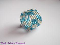 Sea Waves - Handmade Ring made by Purple Nicole (Nicole Cea Mov). Memory Wire Rings, Memory Wire Jewelry, Memory Wire Bracelets, Nicole Nicole, Beaded Crafts, Handmade Rings, Sea Waves, Seed Beads, Jewlery