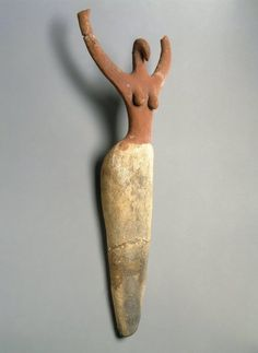 Female Figurine This figurine, one of the oldest statuettes ever excavated in Egypt, perhaps represents a priestess or a goddess dancing or performing ritualized mourning at a funeral ritual. Medium: Terracotta, painted Reportedly From: Ma'mariya, Egypt Dates: ca. 3650 -3300 B.C.E. Period: Predynastic Period, Naqada IIa Period