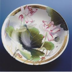 Click to Close Lily Painting, China Painting, Ceramic Painting, Water Lilies, Chinoiserie, Dinnerware, Pottery, Painted Porcelain, Watercolor