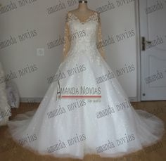 2015 Hot Sale White Ball Gown Sexy Long Sleeve Lace Wedding Dress In Brazil