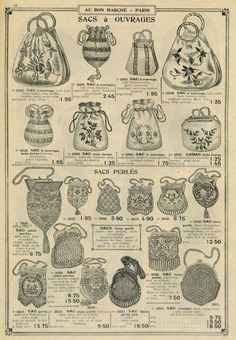 Designer Handbags and Discount Shopping. Vintage Purses, Vintage Bags, Vintage Handbags, Vintage Outfits, Beaded Purses, Beaded Bags, Historical Costume, Historical Clothing, Edwardian Fashion