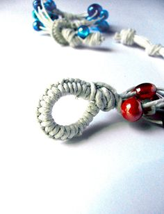 Bracelet in twine with glass beads  beach's collection by Leccio51, €10.00