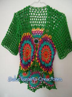 Saquito manga trescuartos Tejido en crochet Diseño: Verónica V. Colinir