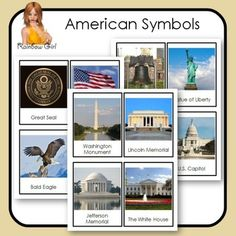Free American Symbols Cards - 12 cards in this set