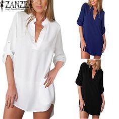 Sexy V Neck Long Sleeve Loose Shirt Dress Size S-6XL