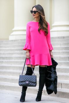 Hot Pink Dress with Bell Sleeves