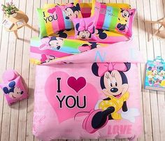 Twin & Queen Size Minnie Mouse I Love You Theme Bedding Duvet Cover Bedding Set Minnie Mouse Bedding, Mickey Mouse, Bed Duvet Covers, Quilt Cover, Covered Buttons, Pink Fashion, Queen Size, Toy Chest, Pink Style