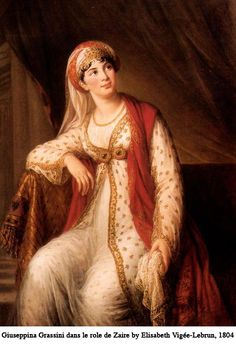 Giuseppina Grassini in the role of Zaire by Vigee-Lebrun, 1804 via www.georgianindex.net