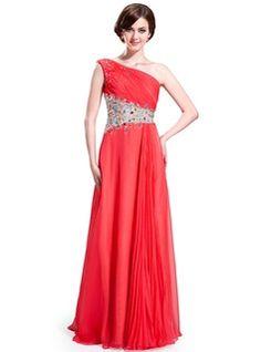 Vestidos princesa/ Formato A Um ombro Chá comprimento De chiffon Tule Vestido de baile com Pregueado Perolização (018025632) - JJsHouse