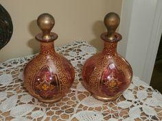 Vintage Pair Bohemian Moser Art Glass Cologne Bottles Perfume Decanters   eBay