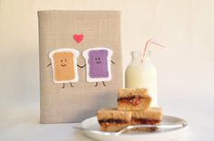 PB&J 4x6 Photo Album: Neutral Colored Fabric, Peanut Butter and Jelly Applique, Best Friends