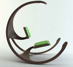 Amazing Futuristic Design Concepts We Wish Were Real: Modern Rocking Wheel Chair-The Rocking Wheel Chair is a modern interpretation of a traditional rocking chair by Mathias Koehler. The near circular form seen from the side is what makes the design so unique. The upper portion features a reading light.
