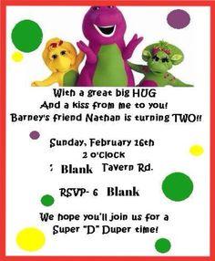 Free Printable Barney Birthday Party Invitations Birthday Party