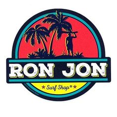 This durable Ron Jon Palm Surf Sticker features a fabulous a beach background with a surfer and palm trees. Surf Stickers, Preppy Stickers, Cool Stickers, E Skate, Ron Jon Surf Shop, Surf Design, Iphone Decal, Badge Design, Cute Disney Wallpaper