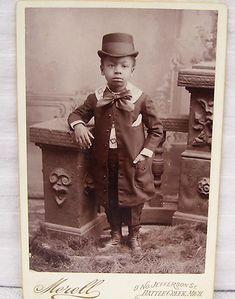 Vintage Cabinet Card of Little Black Boy Child in Formal Dress   eBay