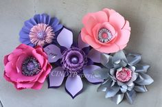 Pink, purple, silver large paper flower backdrop