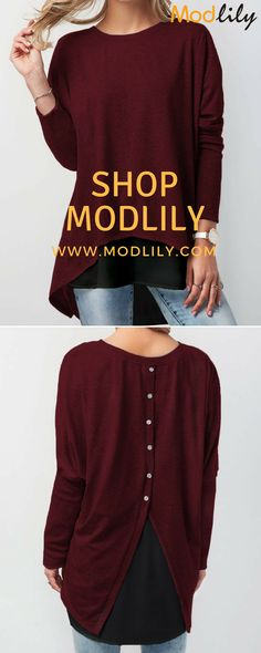 cd1619b64146 Button Back Long Sleeve Wine Red T Shirt On Sale At Modlily. Fashion And  Simple! Free Shipping! Necessary sheet is tasted! Before fall coming