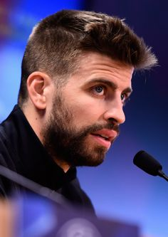 Gerard Pique speaks during a Barcelona press conference ahead of their UEFA Champions League quarter final first leg match against Atletico Madrid at San Joan Despi training ground on April 4, 2016 in Barcelona
