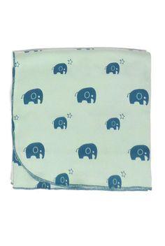 "Parade Organic ""Everything"" Printed Baby Blanket- Elephants"