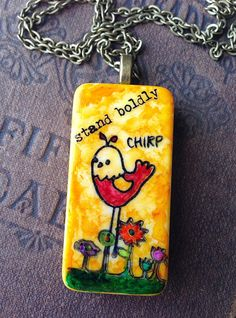 """Upcycled Alcohol Ink Domino """"Stand Boldly"""" Hand Painted Necklace by CraftyColettes, on Etsy"""