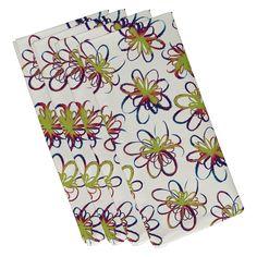 E by Design Jump for Joy Penelope Holiday Floral Pattern Napkin - Set of 4 - N4HFN698IV3BL20