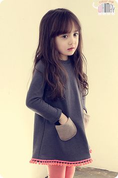Pom poms at hemline --south korean kids clothes