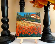 """Flowers and Peaceful Countryside Tuscany  4"""" by 4"""" mini Acrylic Painting of Beautiful Italy, Original Artwork"""