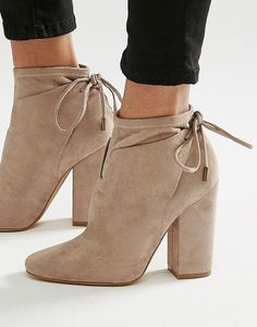 Corset tie back ankle boot by KENDALL + KYLIE. Boots by Kendall Kylie, Faux suede upper, Lace-up cuff fastening, Almond toe, High block heel, Wipe with a soft cloth...